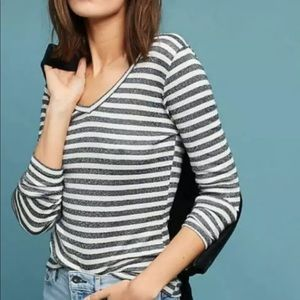 Michael Stars S Black cream stripe long sleeve tee